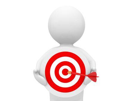 Businessman with a target on a white background. 3d render illustration. 版權商用圖片