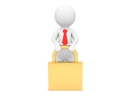Businessman and padlock on a white background. 3d render illustration. 版權商用圖片
