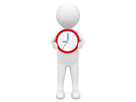 3d character with a clock on a white background. 3d render illustration.