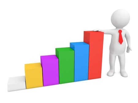 Businessman and profit growth chart. 3d render illustration. 版權商用圖片