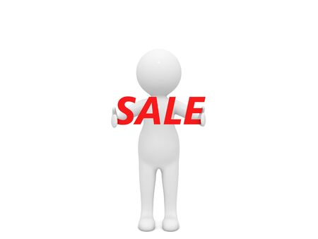 3d character and the word sale on a white background. 3d render illustration. 版權商用圖片