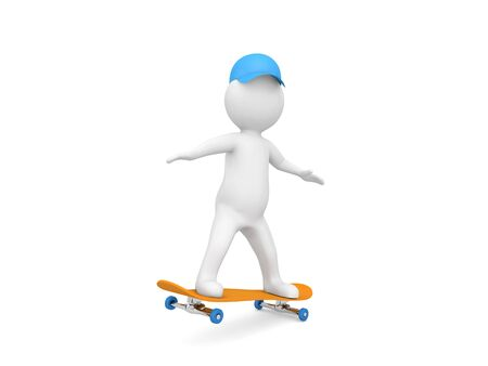 3d character is riding a skateboard on a white background. 3d render illustration. 版權商用圖片