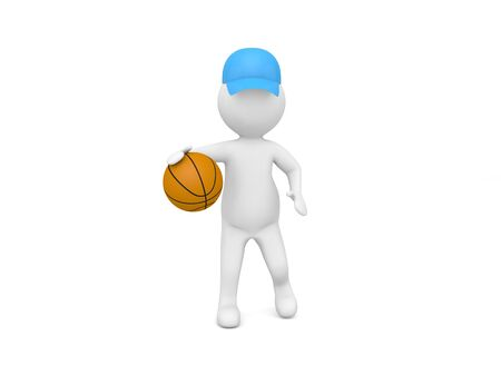 3d character plays with a basketball on a white background. 3d render illustration.