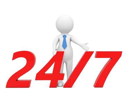 Businessman points to the inscription 24/7 on a white background. 3d render illustration. 版權商用圖片