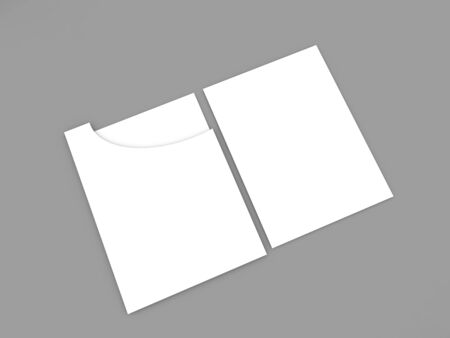 Folder with A4 papers on a gray background. 3d render illustration.