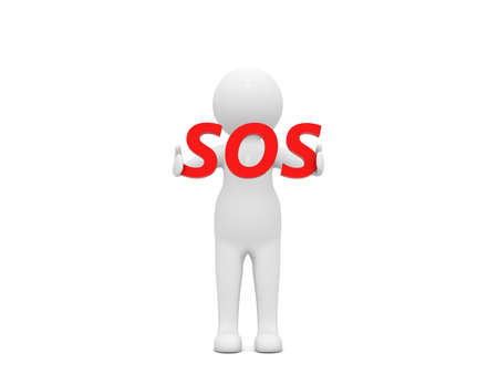 3d character with the sign sos on a white background. 3d render illustration. 版權商用圖片