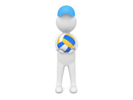 3d character with a volleyball on a white background. 3d render illustration.