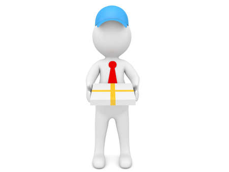 Pizza delivery man character on a white background. 3d render illustration.