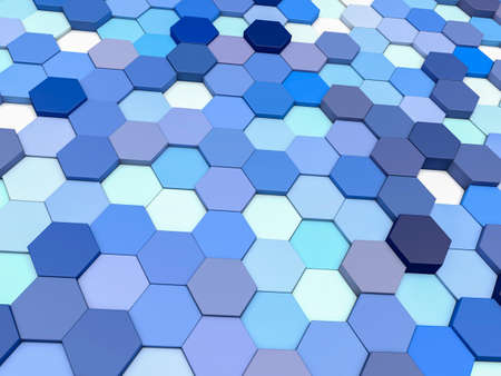 Abstract geometric background from hexagons. 3d render illustration. Imagens