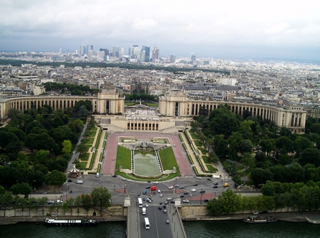 Paris from the Eiffel Tower. View of the Trocadero Square from the Eiffel Tower