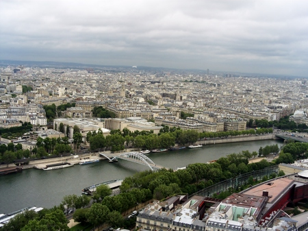 Paris from the Eiffel tower. Seine river from the Eiffel tower. Stock Photo