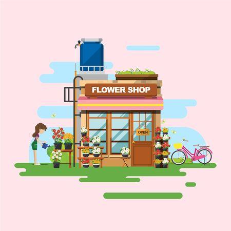 Flower Shop Illustration - Towncity plat ontwerp