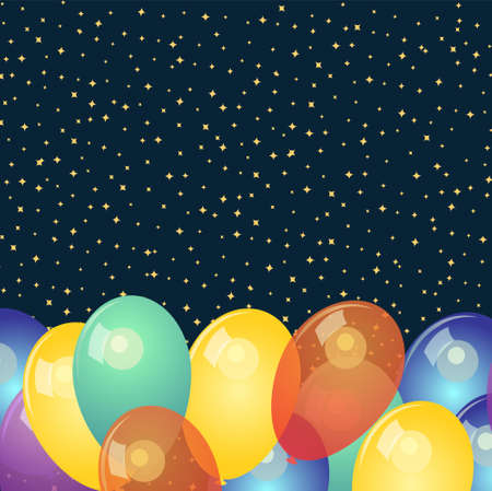Background with colorful balloons and stars
