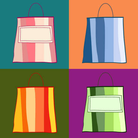Colorful whimsical shopping bags