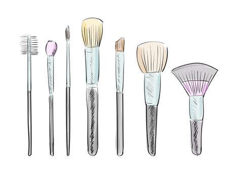 make up brush: Conjunto de dibujado a mano pinceles de maquillaje