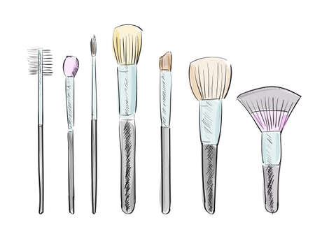 make up woman: Set of hand drawn makeup brushes