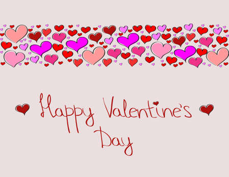 Hand-drawn Valentines Day decorative background with love hearts Illustration