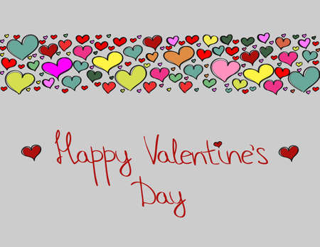 ) Hand-drawn Valentines Day decorative background with colorful love hearts
