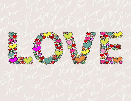 """The word """"LOVE"""" made of hearts Illustration"""