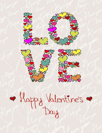 The word �LOVE� made of hearts. Valentine�s Day background