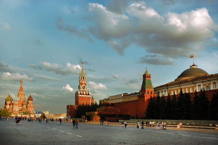 spassky: Red Square of Moscow in the summer day. Red wall of the Kremlin, Spassky Saviors tower, St. Basils cathedral and Lenins mausoleum.
