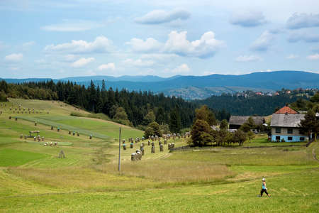Bukovec, Czech Republic - June 29, 2012: Views of the village Bukovec, along with fields,  forest and mountains in a summer day.
