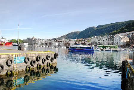 Ferryboat in Bergen, Norway. Ferry commits a cruise on the fjord.