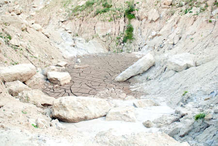 sand quarry: The cracks on the parched earth at a forsaken quarry