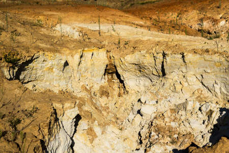 sand quarry: Quarry of clay, clay earthen wall, background, texture