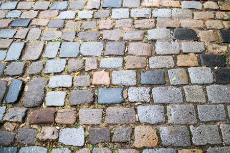 Abstract background of old cobblestone pavement Imagens