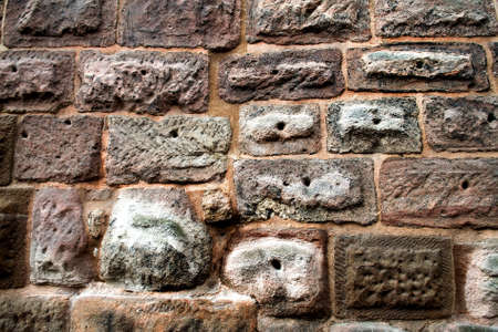 Stone pavement texture, granite cobblestoned pavement background