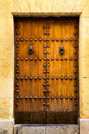 Old wooden door with lion head knocker Imagens