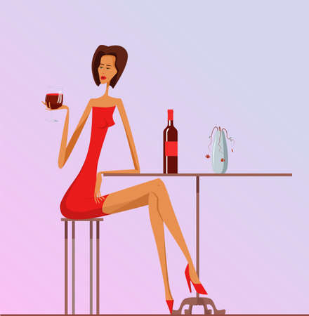 Lonely Woman in red dress sits on a chair at a table with glass of wine. She reaches for glass of wine with her lips to take a sip. Tired woman drinks wine in despair and depressive mood. depression.