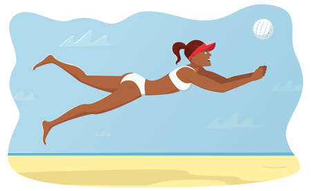 Woman with athletic figure saves a ball in a jump parallel to the ground. Player practicing ball digging. Summer game moment in beach volleyball. Vector illustration side view. Characters flat design