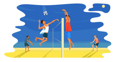 Beach volleyball game. Spiker attacks. A digger stands in a protective stance on bent knees. Player puts a block. Attack and defense. Competition between two teams. Side view flat design illustration Vettoriali