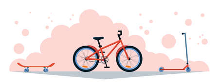 Set of sporting goods road racing bicycle, skateboard and kick stunt scooter. Flat design banner, vector illustration in pink and red colors. Active summer sport goods. Side view
