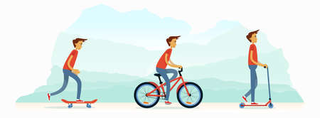 A young man rides a bicycle, rolls on a scooter, and on a skateboard. A group of young people are engaged in an active summer sport. Vector flat design illustration banner.