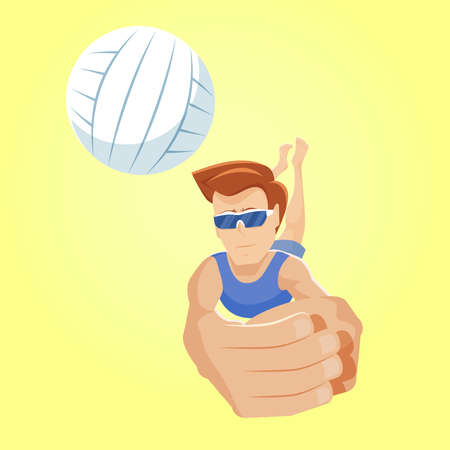 Digging in beach volleyball. Young player dives after a ball to catch it. Playing a ball low on defense. Man in sunglasses hits a ball in a jump and makes a pass. Vector flat design illustration. Ilustração
