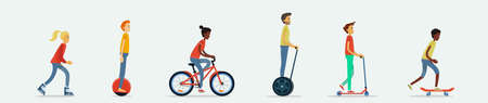 A set of flat design vector illustrations with young men and women rollerblading, riding a mono wheel, hover board, bicycle, rolling on push scooter, skateboarding. Summer leisure activity on vehicles Illusztráció