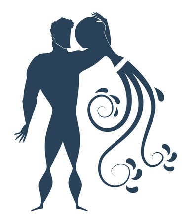 Dark blue zodiac sign Aquarius depicting a strong man silhouette pouring water out of jag.