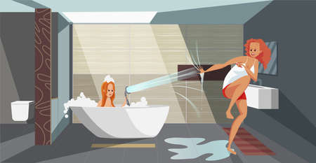 Illustration of evening wash in a bathroom. Girlfriend splashes water from the shower into another girl who brushes her teeth. Fun during the evening wash. Couple having fun. Vector flat