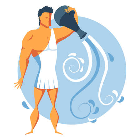 Colorful zodiac sign Aquarius depicting a strong man earing in ancient toga clothing and pouring water out of jag. Illustration of an astrology sign. Vector flat design icon Çizim