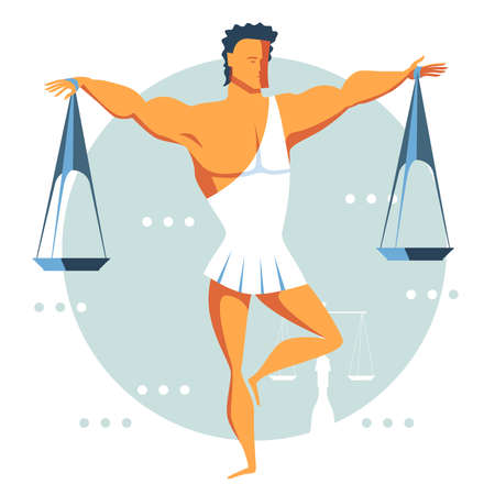 Cute athletic man dressed in a toga balances on one leg and holds the scales with his arms wide apart. A symbol of balance, equality and justice. Libra astrology zodiac sign. Vector flat design icon. Vectores