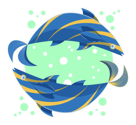 Colorful zodiac sign Pisces depicting two fish moving in opposite directions. Illustration of an astrology sign. Vector flat design icon. Illustration