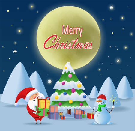 Merry Christmas. Santa Claus with gifts and presents standing near the Christmas tree. Snow man with bengal light under the moon