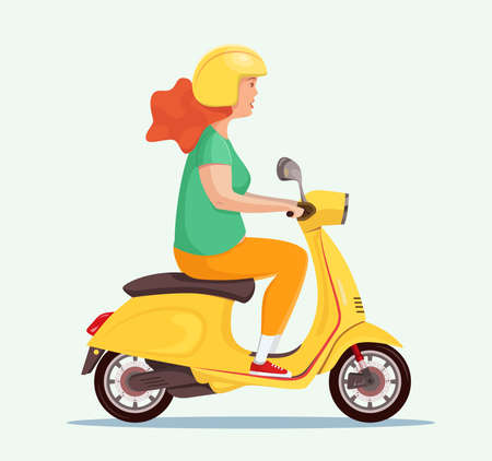 Young cute girl in a helmet rides a scooter. An adult uses a vehicle. Side view. Vector flat design character illustration.