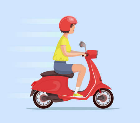 Young cute woman in a helmet rides a red scooter. An adult uses a vehicle. Side view. Vector flat design girl character illustration. Ilustracja