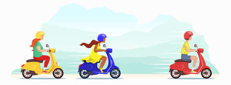 Beautiful young girls compete in a scooter race against the backdrop of nature. The leader of the race went into the lead and is rapidly pursued by women. Cute vector flat design banner illustration. Ilustracja