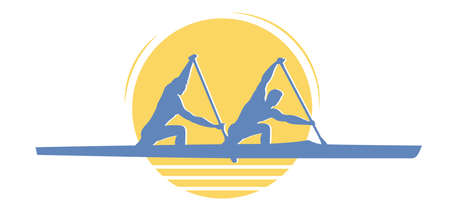 Two men canoeing logo. Recreational boating activity paddle sport with athletes kneel in canoe with single-bladed paddle. Vector flat design illustration icon.