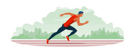 Athlete with cute blue hair color runs along the stadium track. Jogging train of a handsome guy with athletic physique in sportswear. Outdoor training run. Vector flat design banner illustration.